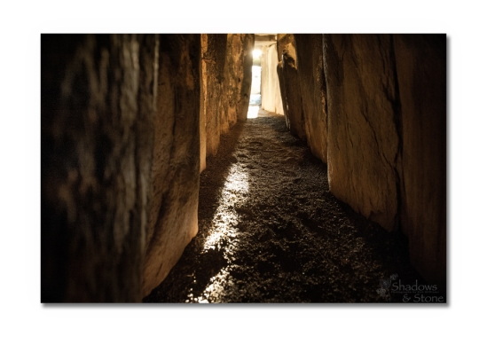 Sunlight bursts through the specially designed roofbox constructed to admit light to reach deep inside the tomb